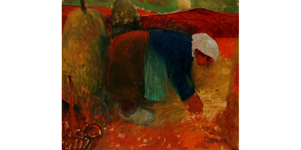 Reg Gammon (British, 1894-1997) Worker in the field 62 x 72cm.