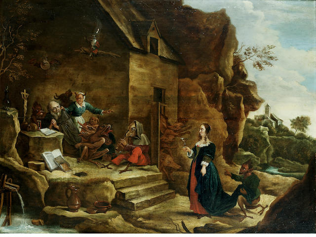 Manner of David Teniers the Younger, 18th Century The Temptation of Saint Anthony 49.6 x 65.6 cm. (1