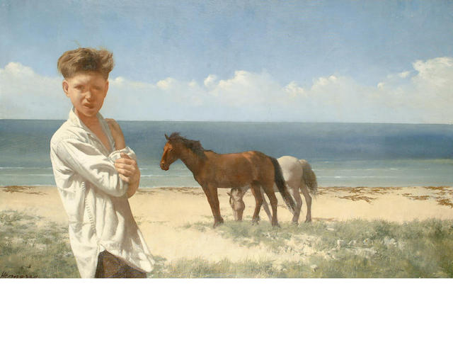 Patrick Hennessy (British, 1915-1980) Boy and horses on the seashore 62 x 100cm.