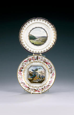A Derby plate from the Hafod Service, circa 1810, probably painted by Zachariah Boreman,