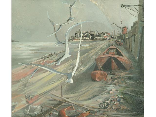 "Michael Ayrton (1921-1975) ""Thames Foreshore"" 56.5 x 64cm"