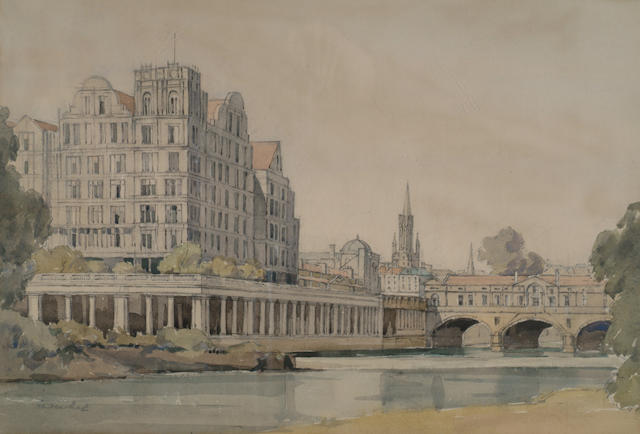 Glady Best (1898-?) 'Pulteney Bridge and The Empire, Bath'