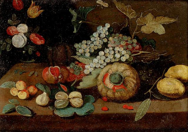 Studio of Jan van Kessel the Younger (Antwerp 1654-1708 Madrid) A melon, grapes, oranges, lemons 16.5 x 21.5 cm. (6½ x 8½ in.)