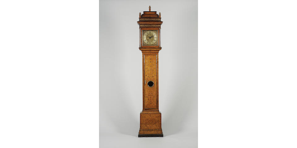 A fine early 18th century seaweed marquetry inlaid walnut longcase clock with maintaining power.  Exhibited at the Franco-British Exhibition of 1908, then the property  of D.A.F. Wetherfield. Christopher Gould, Londini fecit
