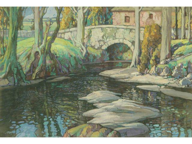 "Harry Epworth Allen R.B.A., P.S. (1894-1958) ""The Bridge"" 33 x 47cm"