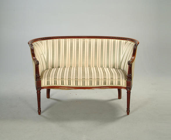 A late 19th century mahogany framed two seater canape