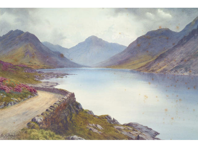 Edward H Thompson (1866-1949) 'Wastwater and Great Gable' Signed, watercolour 30 x 44cm