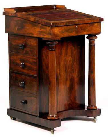 A mid Victorian rosewood Davenport