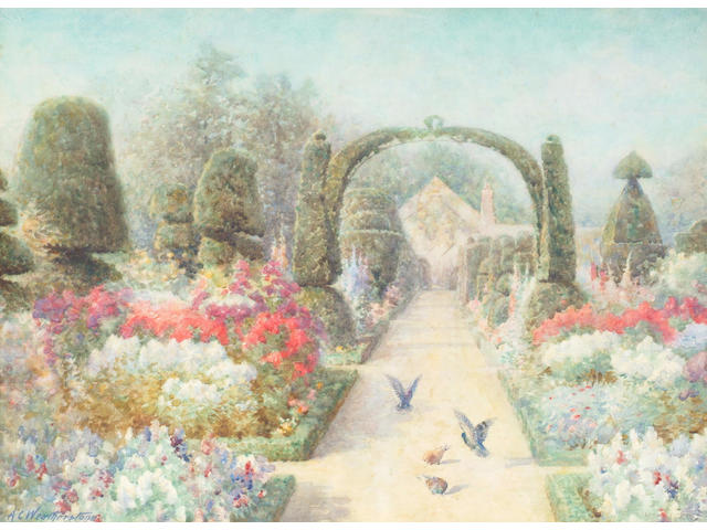 Alfred C Weatherstone (fl.1888-1929) 'Herbaceous borders with doves' 27 x 37cm