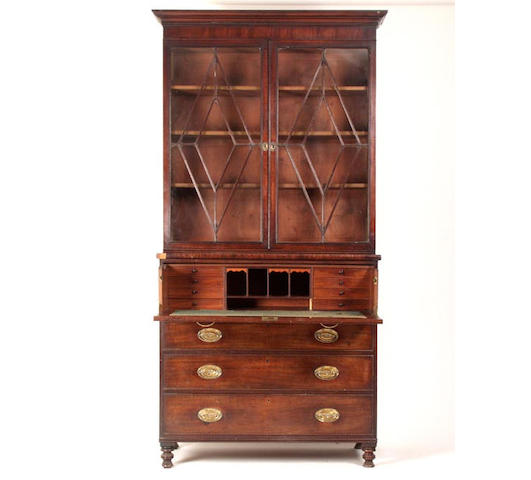 An early 19th Century mahogany secretaire bookcase