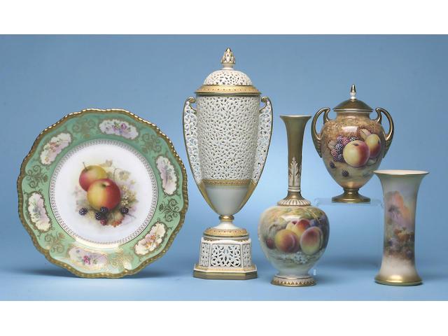 A Royal Worcester vase by John Stinton, circa 1928,