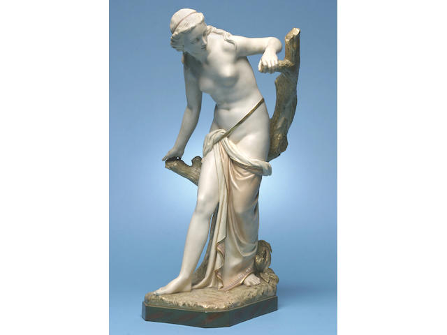 The Bather Surprised: a good Royal Worcester sculpture, circa 1899,