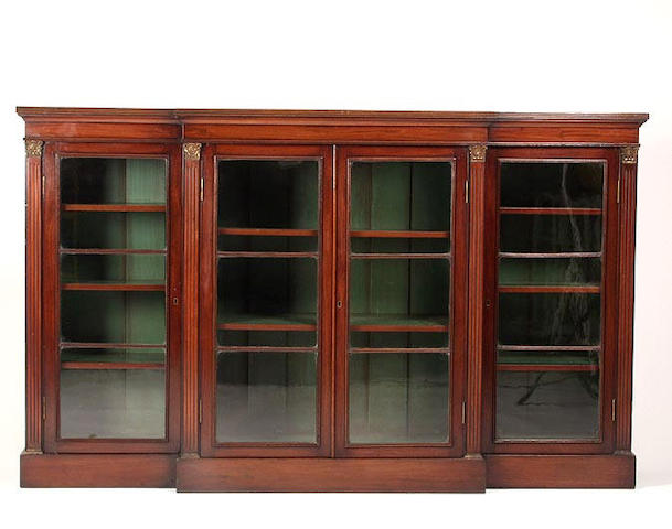 An Edwardian mahogany breakfront bookcase