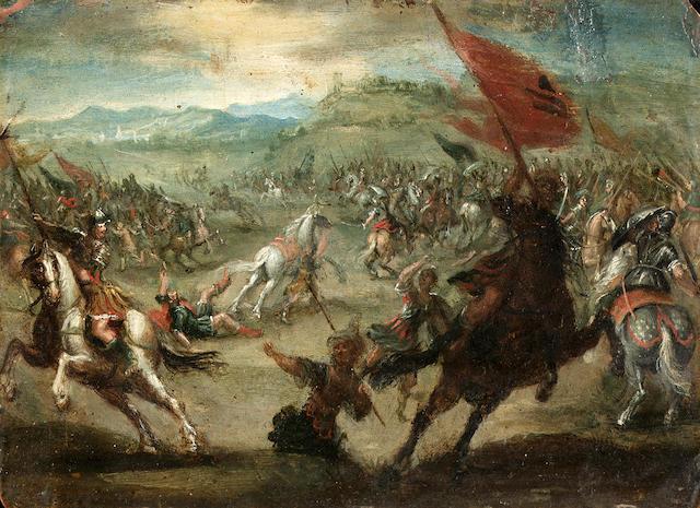 School of Prague, 17th Century A cavalry skirmish 9 x 12.9 cm. (3½ x 5 in.)