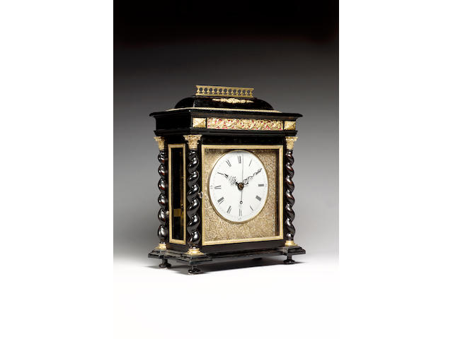 An impressive gilt metal mounted ebonised musical and quarter chiming bracket clock with centre seconds