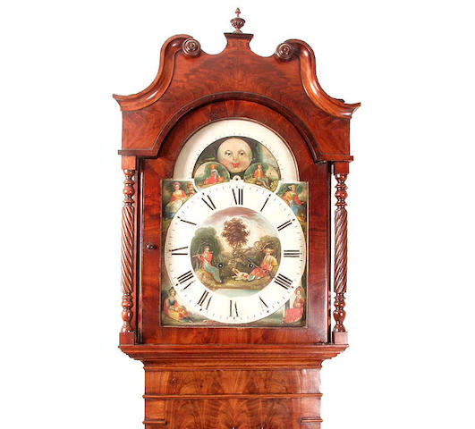 A mahogany cased eight day longcase clock with moonphase Marked on the reverse W Francis