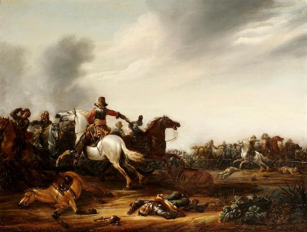 Abraham van der Hoef (Delft 1611/12-1666) A cavalry skirmish on a plain 48 x 63 cm. (19 x 24¾ in.)