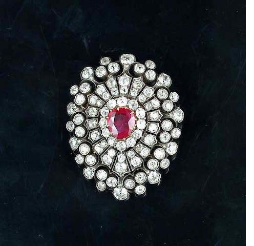 A late Victorian ruby and diamond brooch/pendant,