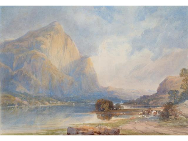 Thomas Leeson Rowbotham (1783-1853) 'Mynydd Mawr, Llyn Cwellyn' 17 x 25cm