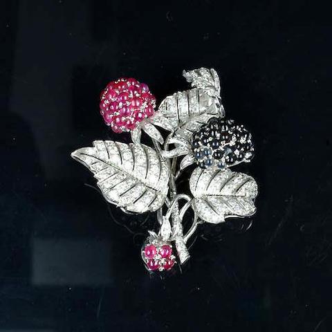 A ruby, sapphire, garnet and diamond brooch, by Bulgari,