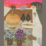 Mary Fedden (1915-) 'Potted polyanthus, avocados, a corn cob and a squash on a garden wall' 60 x 50c