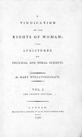 WOLLSTONECRAFT (MARY) A Vindication of the Rights of Woman: with Strictures on Political and Moral S