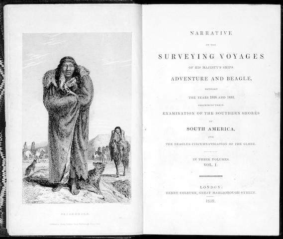 DARWIN (CHARLES), ROBERT FITZROY and PHILIP PARKER KING Narrative of the Surveying Voyages of His Majesty's Ships Adventure and Beagle, between the years 1826 and 1836, describing the Examination of the Southern Shores of South America, and the Beagle's Circumnavigation of the Globe, 3 vol. (without Appendix to volume 2)