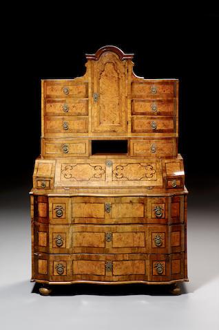 A late 18th Century Austrian burr wood, walnut crossbanded and strapwork marquetry Schreibschrank,