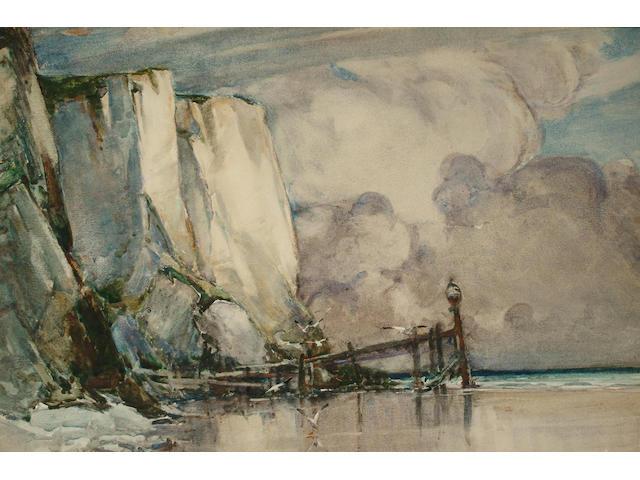 Hubert Coop (British, 1872-1953) Coastal scene, 36.5 x 54.5 cm.
