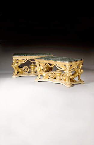 A pair of George II style carved giltwood and white painted Centre Tables,in the manner of William Kent