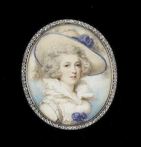 Richard Cosway R.A., Mrs Parsons (née Huff), wearing large straw bonnet trimmed with blue ribbons and white ostrich feathers, white dress with frilled layered collar, blue ribbon at her corsage and pearls around the shoulder and neckline