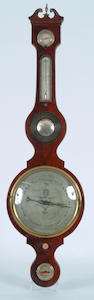 An early 19th Century mahogany banjo wheel barometer