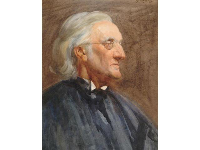 British School, circa 1900, Portrait, bust length of a man in reading glasses, 45 x 34.5 cm.