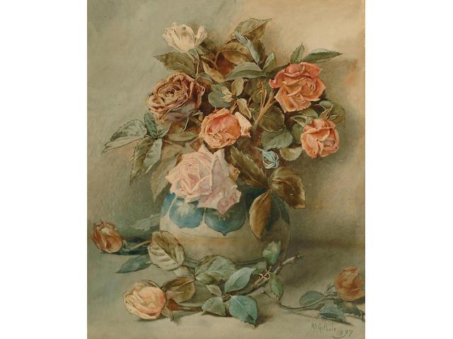 W.D.Guthrie (British, exh.1881-1882) Roses in a Vase, 49 x 40.5 cm.