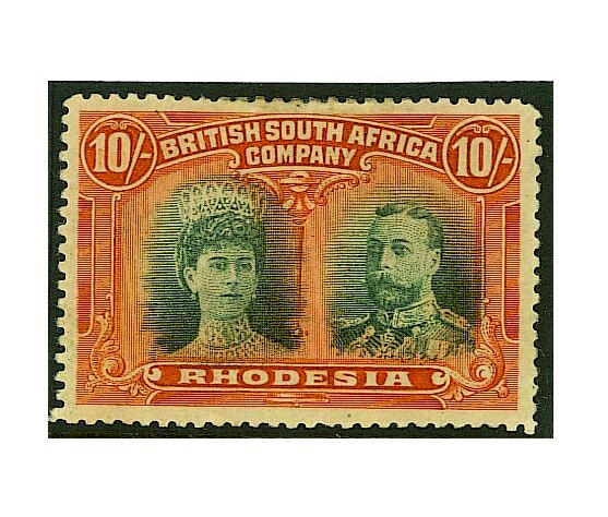Rhodesia: 1910-13 ½d. (3), 1d. (2), 2d. (2), 2½d. (2), 4d. (2), 5d. (2), 6d. (2), 8d., 10d., 1/-, 2/-, 2/6 (2), 3/-, 5/- (2), 7/6, 10/- and £1 mint, small imperfections and some heavy hinge remainders, a 5d. has some rusting otherwise mainly fine and fresh. (157)
