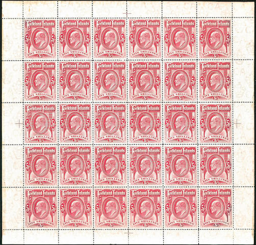 Falkland Islands: 1904-12 MCA 5/- red in an unmounted mint complete sheet of thirty (mounted in margin), very scarce and extremely fine and fresh, an exhibition piece. (770)