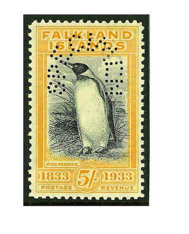 """Falkland Islands: 1933 Centenary set perfed. """"SPECIMEN"""" with gum, a small black mark on the 5/- and 10/- otherwise fine and fresh, a very scarce set. (085)"""