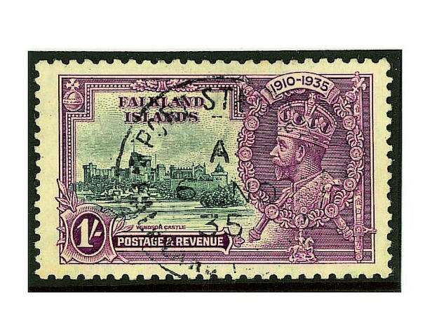 Falkland Islands: 1935 Jubilee 1/- slate and purple used, with the variety extra flagstaff, very fine and scarce. R.P.S. Certificate (1978). SG £2,250 (086)