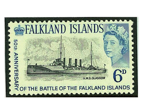 Falkland Islands: 1964 6d. black and light blue unmounted mint, with the centre H.M.S. Glasgow, very fine possibly the rarest of all Commonwealth issues, probably less than seventeen recorded. (087)