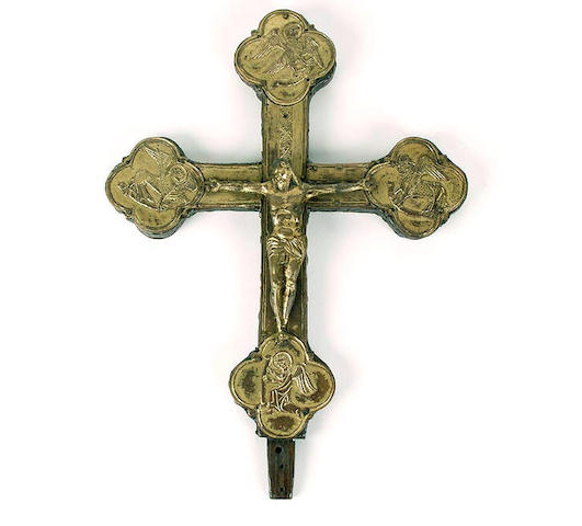 A gilt metal Corpus Christi mounted on a Botonee cross