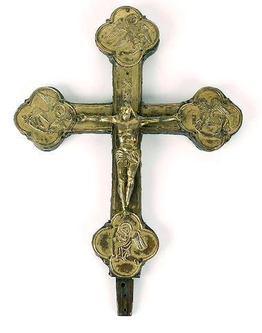 A gilt metal Corpus Christi mounted on a Botonee cross