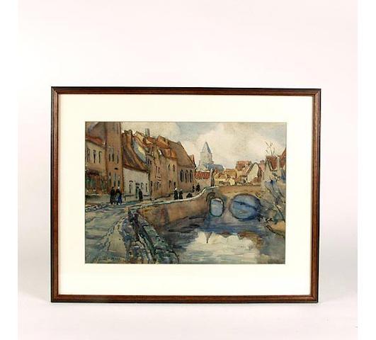 S Dennant Moss watercolour of a street scene, framed and glazed, 35cm x 25cm.