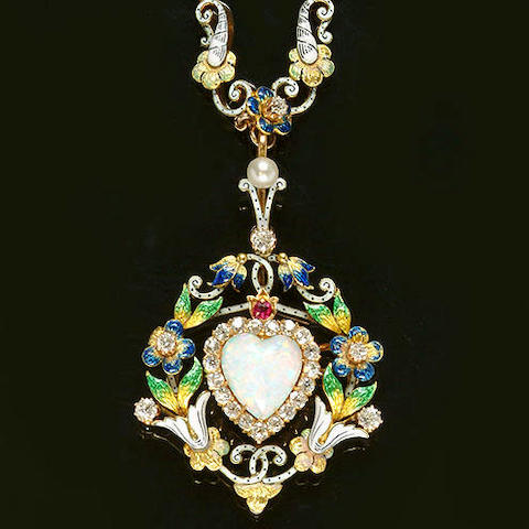 A diamond, opal, pearl, ruby and enamel necklace