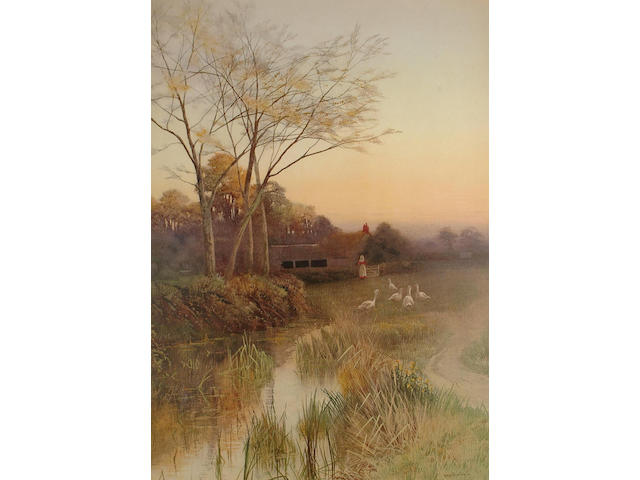 George Oyston (British, 19th Century) Geese by a river; Figure on a rural lane, 69.5 x 49.5 cm, (2).