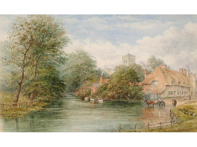 William J.Bolton (British, 1816-1884) A village ford, 28 x 45.5 cm