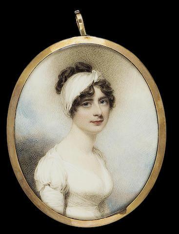 William Wood, Elizabeth Seward (1783-1865), wearing white dress and wide bandeau in her dark brown hair
