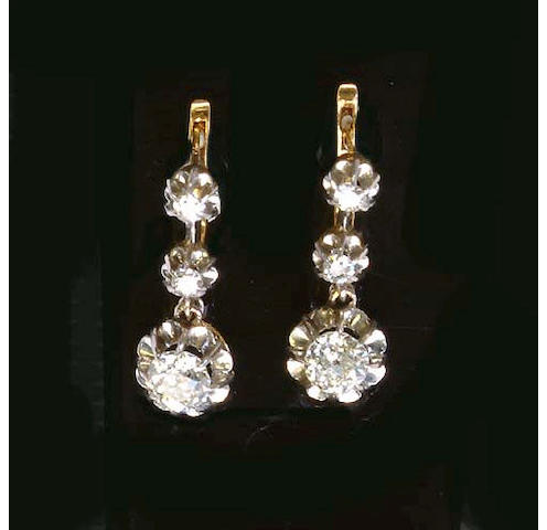 A pair of French diamond earpendants