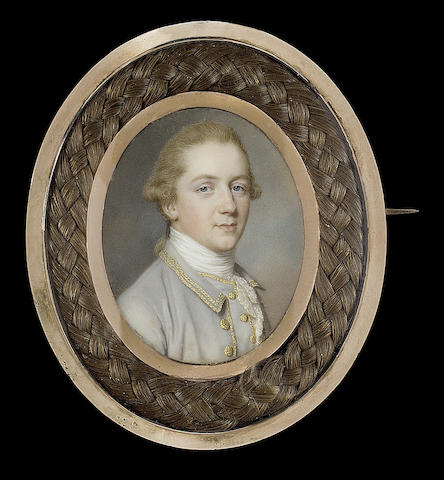John Smart, Thomas Russell (1750-1814), wearing pale grey coat and waistcoat trimmed with gold braid and buttons, white stock and lace cravat, his hair worn en queue