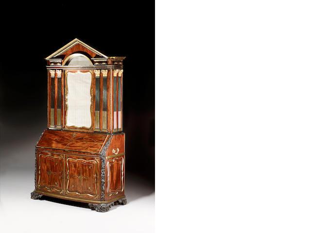 A George II mahogany, ebonised and brass inlaid Bureau Cabinet
