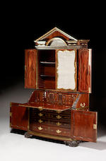A George II mahogany, ebonised and brass inlaid Bureau Cabinet